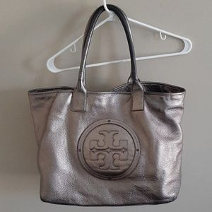 Tory Burch pewter pebbled leather handbag